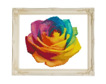 Rainbow Rose Counted Cross Stitch Pattern - Instant Download