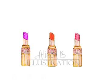 YSL Lipstick Trio Print Fashion Illustration Watercolor Art Decor