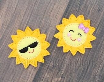 ITH Sun Feltie Design, Sun Design, Sunshine Feltie, Sunglasses Feltie, Sun Clippie, Sunshine Feltie, Summer Feltie