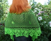 Green bright scarf Scarf crocheted from cotton Lime green scarf-pashmina Scarf for women Summer scarf Beach pareo Pashmina Lace Cape