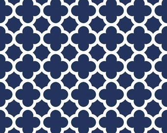 KNIT Fabric Riley Blake Navy Quatrefoil Cotton Lycra Knit Fabric. Sold by the 1/2 Yard