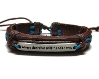 Where There's a Will There's A Way Leather Wrap Bracelet Blue String Brown Thick Bracelet Adjustable Cord Bracelet Inspirational Quote Wrap