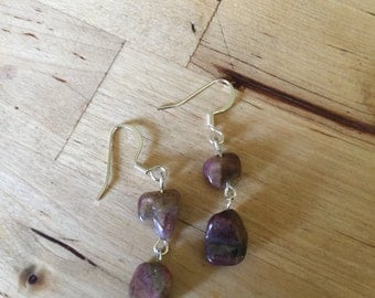 Brown Stone and Silver Earrings