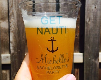 Get Nauti Label, Nautical Decals, Labels, Plastic Cups, Custom Party Cups, Bachelorette Cups, Bachelorette Party Cups, Custom Plastic Cups