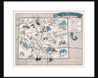 Colorado Map - Map of Colorado - State Map - Vintage Map - Poster - Print - Pictorial - Cartoon Map