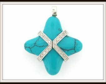 Turquoise & CZ 925 sterling silver packed gift design 3D PENDANT