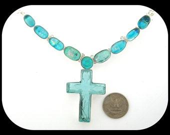 Carved blue quartz cross PENDANT & dichroic glass .925 sterling silver NECKLACE