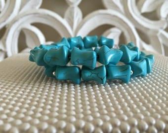 Genuine Turquoise Bracelet. Turquoise Bracelet. Turquoise Beaded Bracelet. Turquoise Jewelry. Silver Jewelry. Turquoise Blue Bracelet.
