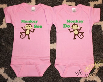 Twin Girls, Funny Baby Gift, Monkey See Monkey Do Twin Girl Bodysuits, Pink Bodysuits, Twin Gift Sets, Baby Shower Gift, Baby Announcement