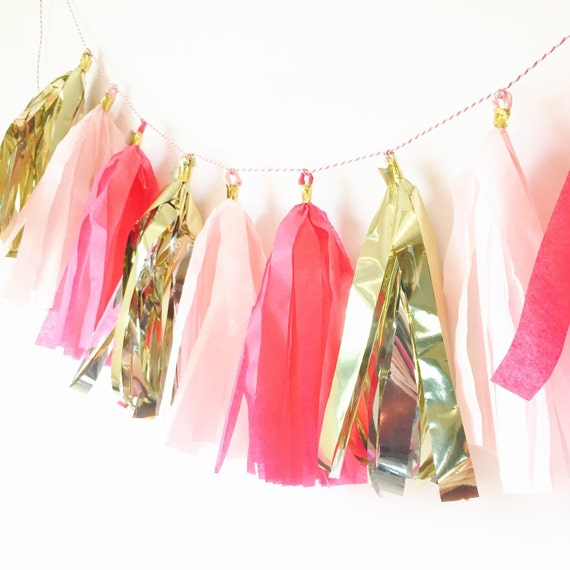 Pink Tassel Bunting from Posh Soiree on Etsy