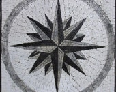 Exquisite Greyish Nautical Compass Mural Home Decor Marble Mosaic GEO2568