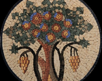 Exquisite Fruity Tree Of Life Mural Home Design Marble Mosaic MD1889