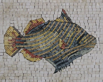 Fish Animal Plain Background Bathroom Pool Decor Marble Mosaic AN406