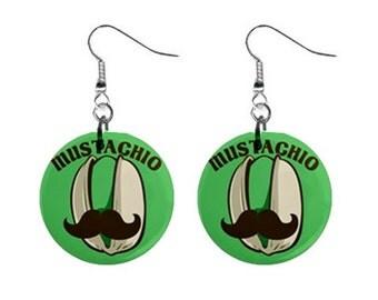 "Mustachio  1"" Button Earrings"