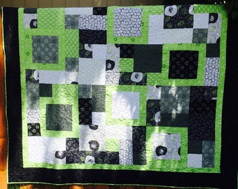 1 Quilts, Sale! Reduced 50 dollars. New!  queen quilt size, black, green and grey homemade and hand pieced for sale, handmade