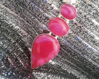 Triple Pink African Agate Stone Large Pendant