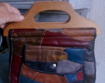 Leather Hippie Patchwork Purse,  leather handbag vintage , 1970's