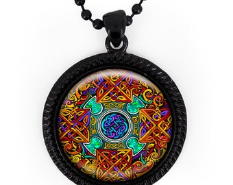 Jet Black Colorful Stained Glass Celtic Knot Design Glass Pendant Necklace 325-JBRN