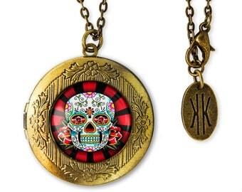 Antique Bronze Day of the Dead Sugar Skull Design Glass Keepsake Locket Necklace 61-BRLN