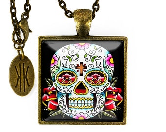 Antique Bronze Traditional Day of the Dead Sugar Skull Glass Pendant Necklace 55-BSPN