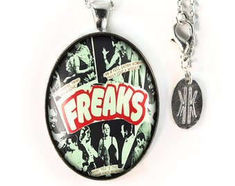 Large Silver Vintage Freak Show Glass Pendant Necklace 167-SLOPN