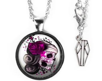 Platinum Silver Pink Day of the Dead Sugar Skull Girl Glass Pendant Necklace 7-SRPN