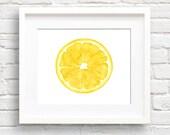 Lemon - Art Print - Kitchen Wall Decor - Watercolor Painting