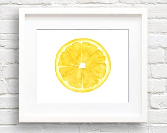 Lemon - Art Print - Kitchen Art - Wall Decor - Watercolor Painting