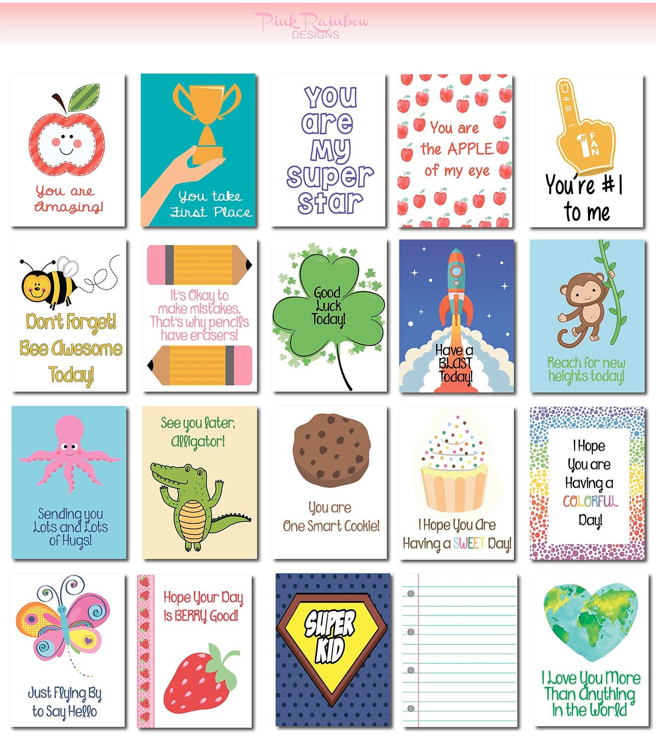 20 Lunch Box Notes Cards with Motivational Messages for Kids