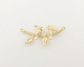 P0125/Anti-Tarnished  Matt Gold Plating Over Brass/Two sparrows on branch Pendant/18x30mm/2pcs