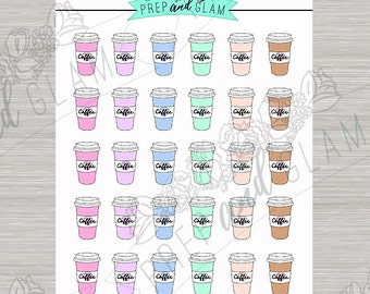 Coffee stickers planner stickers colorful -  for use with Erin condren planner  -#017