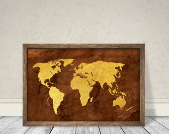 World Map Retro Style World Map Vintage,World Map Classic styele, Instant download, World Map Art