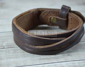 FREE SHIPPING - Brown Genuine Leather Multi Strand Bracelet - Rugged Unisex Cuff Bracelet