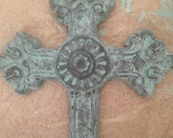 Teal Washed Ceramic Cross
