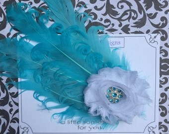 Teal and white feather hair accessory!