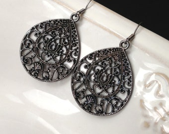 Filigree Earrings, Gunmetal Filigree Earrings, Boho Earrings, Black Filigree Earrings, Large Drop Earrings - Gift for Her 0207