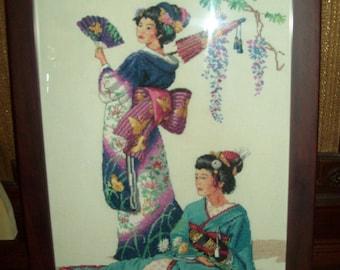 Geisha Girls framed counted cross stitch