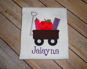 School Supplies Wagon ~ Back to School~ Applique Shirt - Custom Made to Order!