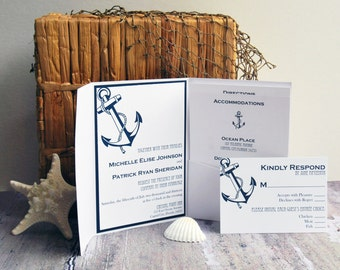 Wedding Invitation, Shoreline Anchor Wedding Invitation, Navy Anchor Wedding Invitations, Wedding Invites - Invitation Sample Kit