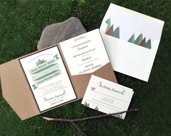 Wedding Invitation, A Woodsy Adventure Wedding Invitation, Woodland Wedding Invitations, Wedding Invites - Invitation Sample Kit