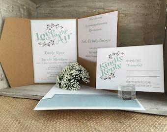 Wedding Invitation, Love is in the Air Wedding Invitation, Rustic Wedding Invitations, Wedding Invites - Invitation Sample Kit
