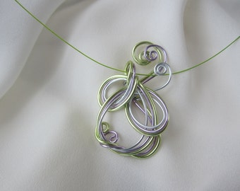 Colored Aluminum Wire Wrapped Necklace