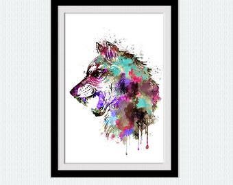 Wolf watercolor print Wolf colorful poster Wolf illustration Home decoration Kids room decor Wall hanging decor Wolf wall decoration W313