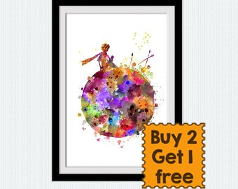 The Little Prince watercolor art print The Little Prince colorful poster Home decoration Kids room wall art Nursery room wall decor  W338
