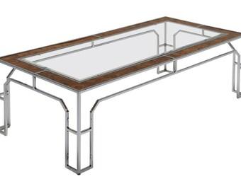 Chrome and Burl Coffee Table