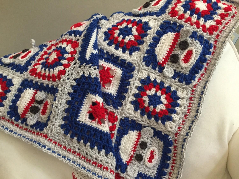 Sock Monkey Crochet Blanket PDF Sock Monkey Granny Squares