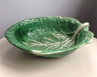 Excepionally fine Fruit Dish Leaf bowl by Gerber