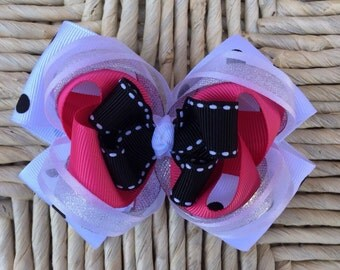 Hot pink black white and silver hair bow- Hot pink black white silver layered bow- over the top boutique hair bow- stacked large bow
