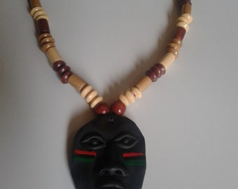 RBG black African mask necklace with wooden beads