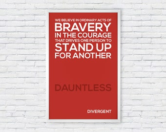 Divergent Movie Poster Print Quote - Dauntless
